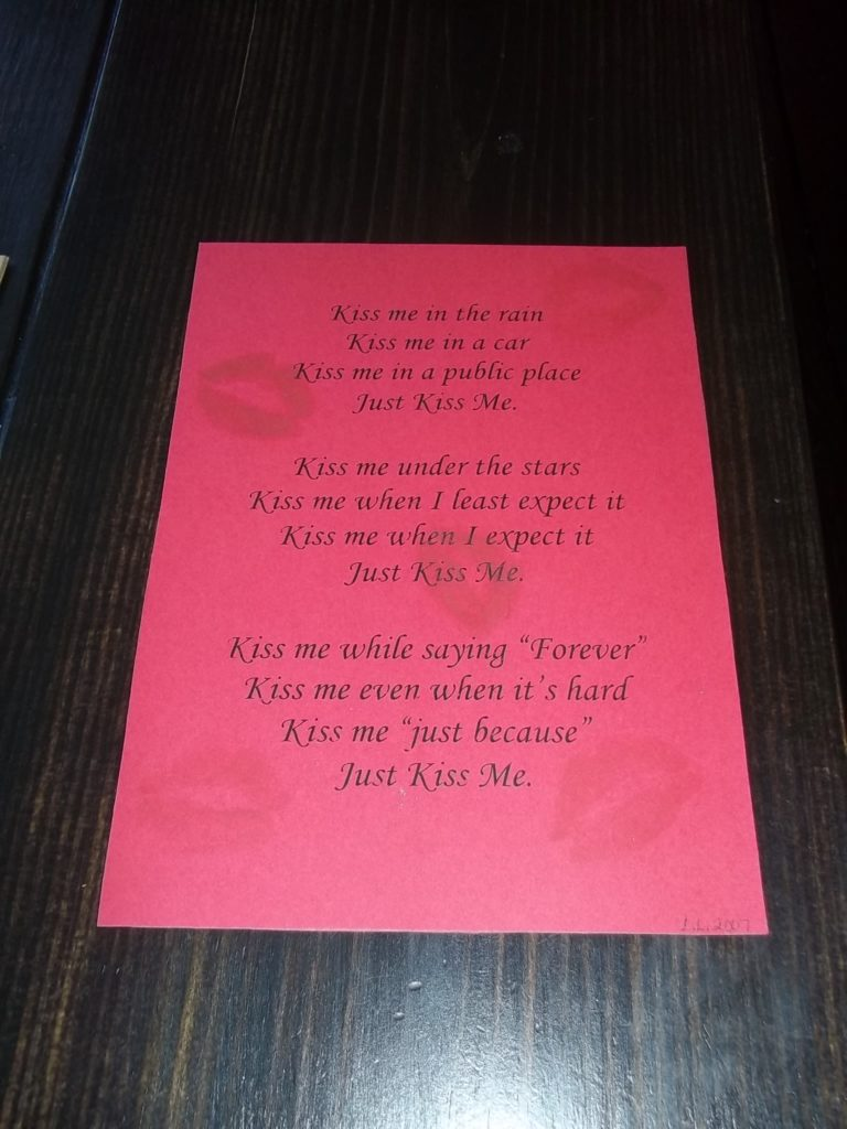 Kiss Me Valentine's Card