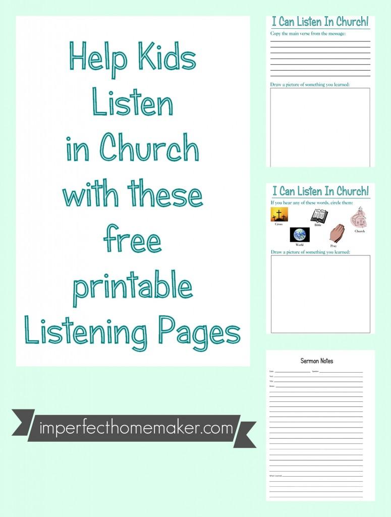Help Kids Listen In Church Free Printables Imperfect Homemaker