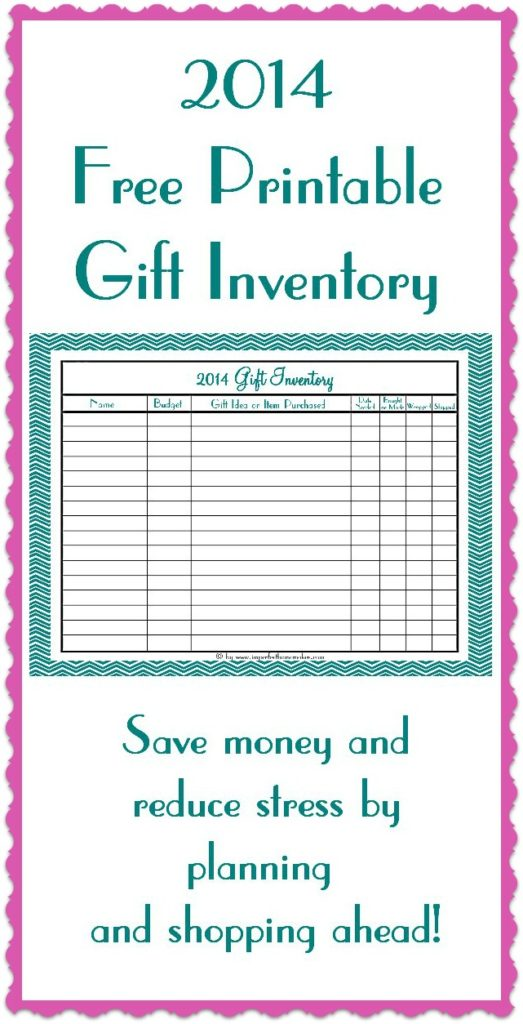 Free Gift Inventory Printable