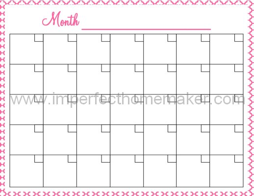 Printable Calendar to help you turn goals into reality