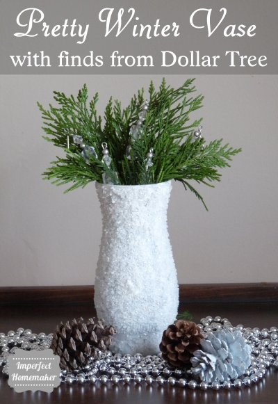 Pretty winter vase made with supplies from Dollar Tree