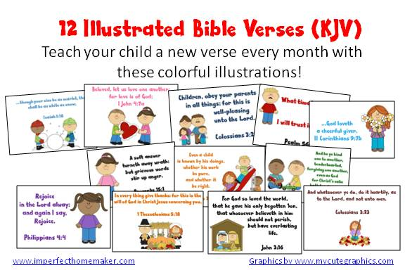Free illustrated children's Bible Verses (KJV) | imperfecthomemaker.com
