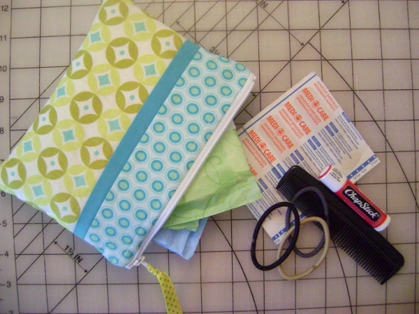 zip pouch of personal items
