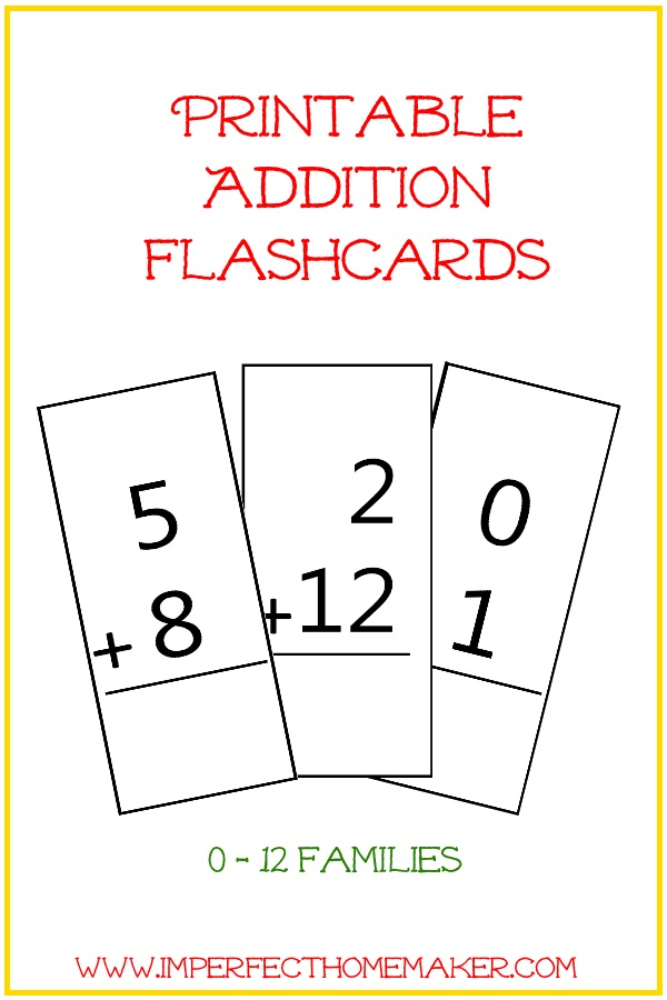 photo regarding Addition Flash Cards Printable named Totally free Printable Addition Flashcards Imperfect Homemaker