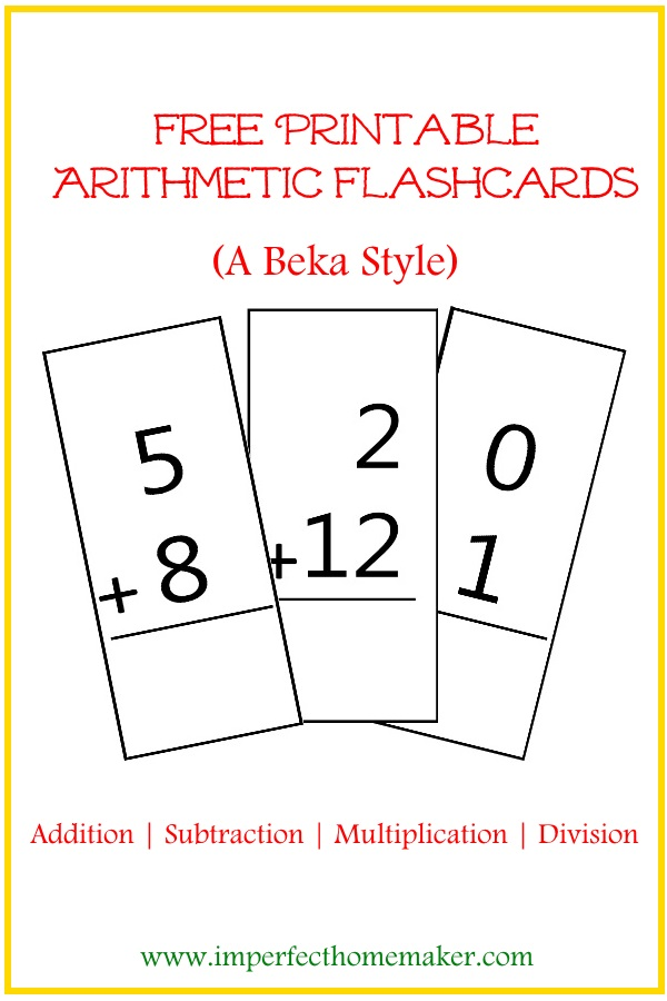 free printable arithmetic flashcards imperfect homemaker. Black Bedroom Furniture Sets. Home Design Ideas