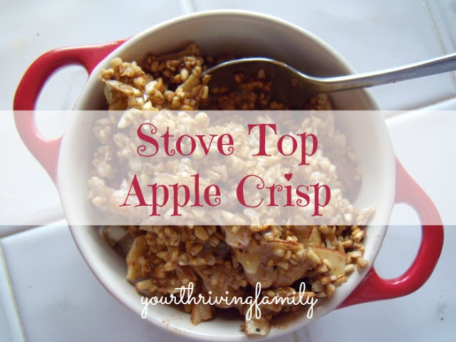 "Stove Top Apple Crisp Recipe - this is a ""real-food"" recipe with healthy ingredients too!"