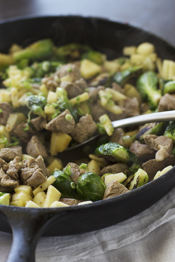 Pork, Apples, and Brussels Sprouts skillets - what a yummy way to cook brussels sprouts!