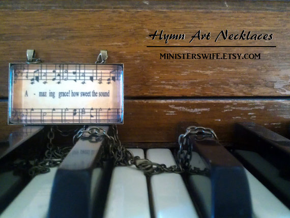 Amazing Grace Hymn Art Necklace