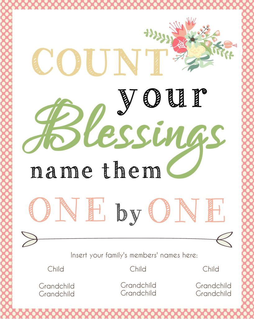 Count your Blessings printable - awesome quick and easy gift idea for mom or grandma