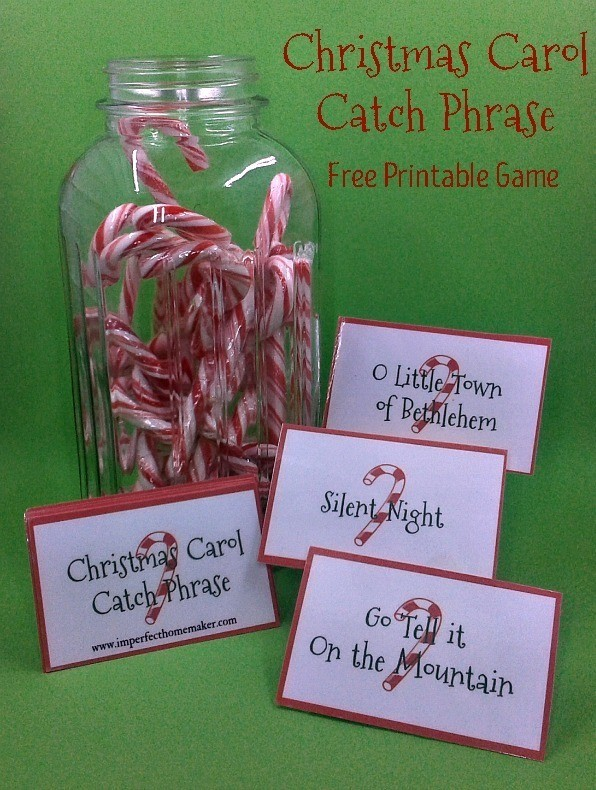 Great game for family Christmas party! Christmas Carol Catch Phrase - Free Printable